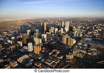 Cityscape of Denver, Colorado, USA. - Aerial cityscape of...