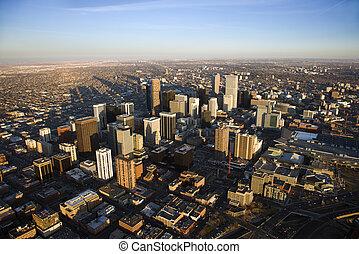 Aerial cityscape of urban Denver, Colorado, United States.