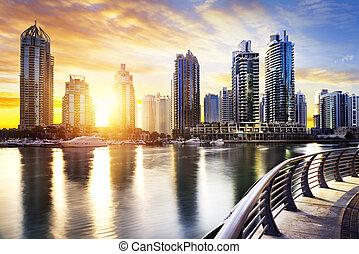 Cityscape of Dubai at night, United Arab Emirates - skyline...