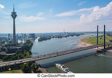 Cityscape of Dusseldorf over the Rhine river at summer