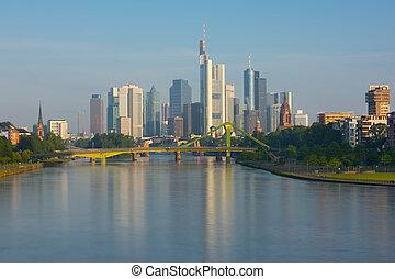 Frankfurt in a sunny summer morning
