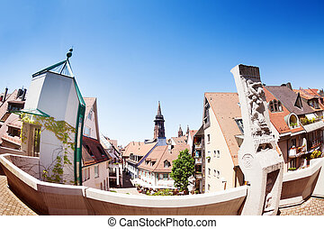 Cityscape of Freiburg with Munster cathedral tower -...