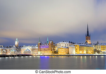 Old Town Stockholm city - Cityscape of Gamla Stan Old Town...