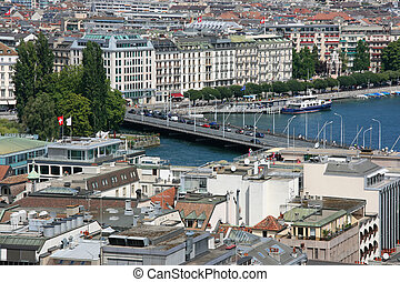 Cityscape of Geneva, Switzerland, seen from the top of cathedral.