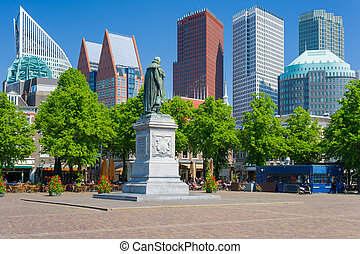 Cityscape of Hague in a summer day