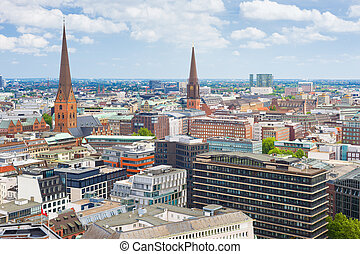 Hamburg in a summer day