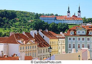 Cityscape of historical Prague center, eastern Europe.