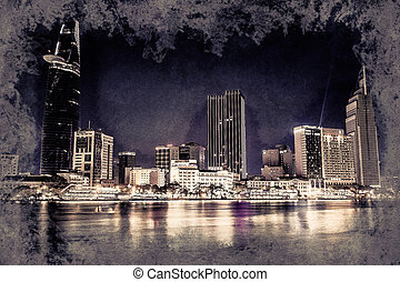 Cityscape of Ho Chi Minh at night with bright illumination of modern architecture, in Southern Vietnam. Vintage painting, background illustration, beautiful picture, travel texture