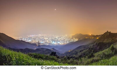 Cityscape of Hong Kong as viewed atop Kowloon Peak night timelapse with Hong kong and Kowloon below