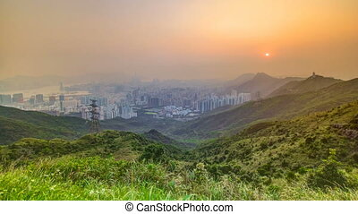 Cityscape of Hong Kong as viewed atop Kowloon Peak with...