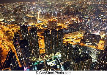 Cityscape of Hong Kong at night, aerial view