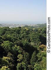 cityscape of Kamakura from top of mountain, in Kamakura, Kanagawa, Japan