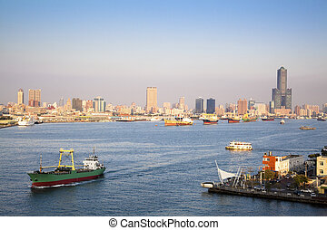 Cityscape of Kaohsiung harbor  in Taiwan