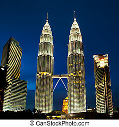 Cityscape of Kuala Lumpur, Malaysia with Petronas towers. -...