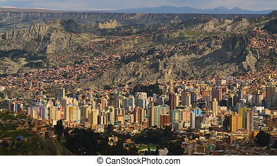 Cityscape Of La Paz, Bolivia - Wide high angle still shot of...