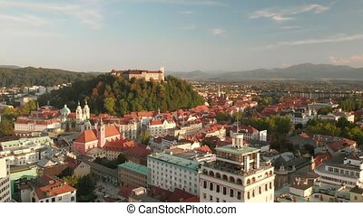 Cityscape of Ljubljana, capital of Slovenia, at late ...