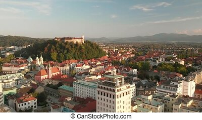 Cityscape of Ljubljana, capital of Slovenia at sunset. - ...