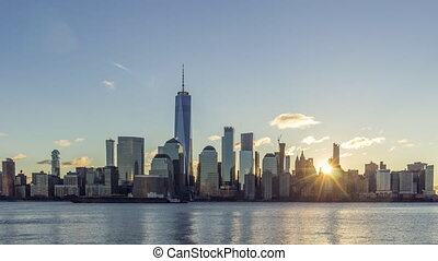 cityscape of lower manhattan new york in the