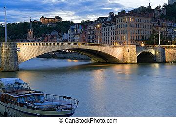 Cityscape of Lyon at night