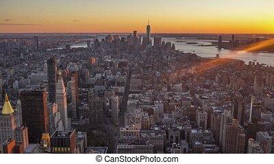 cityscape of manhattan new york at sunset united