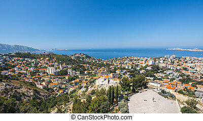 Cityscape of Marseilles, France. Sunny summer day with ...