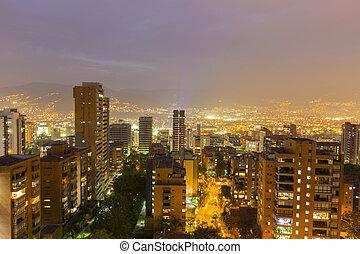 Cityscape of Medellin at night, Colombia
