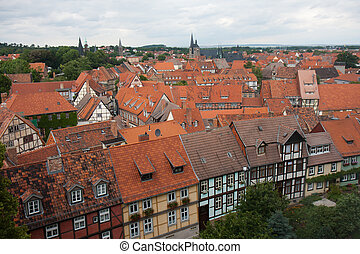 Cityscape of medieval city Quedlinburg in  Germany
