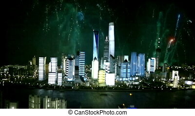 Cityscape of modern city with fireworks, Shanghai, China -...