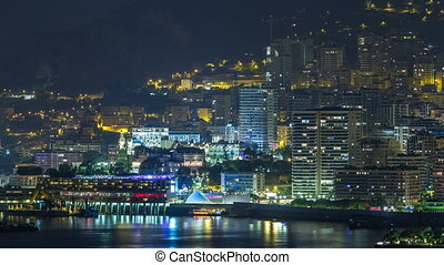 Cityscape of Monte Carlo at night timelapse, Monaco. Evening...