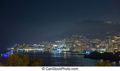 Cityscape of Monte Carlo at night timelapse, Monaco. Evening...