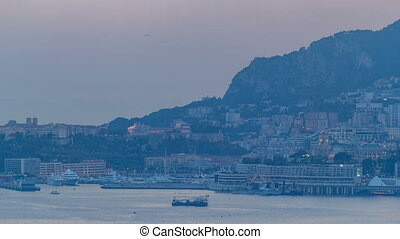 Cityscape of Monte Carlo day to night timelapse, Monaco...