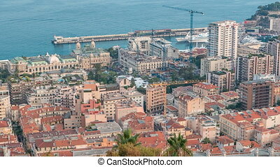 Cityscape of Monte Carlo, Monaco day to night timelapse with...