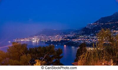 Cityscape of Monte Carlo night to day timelapse, Monaco...