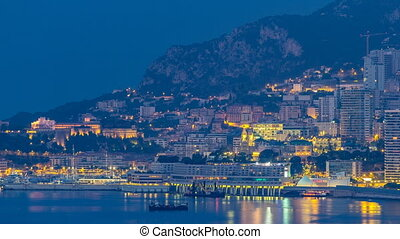 Cityscape of Monte Carlo night to day timelapse, Monaco...