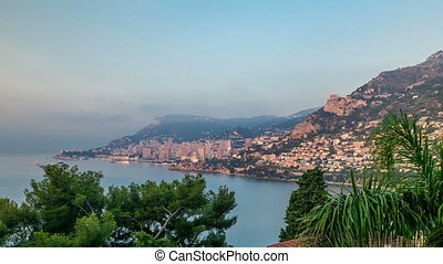 Cityscape of Monte Carlo with morning light timelapse,...