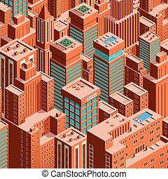 Cityscape of New York. Isometric perspective.