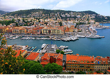 Cityscape of Nice(France), harbor view from above -...
