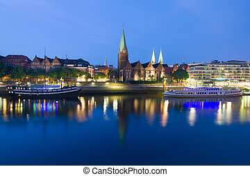 Cityscape of night Bremen in summer