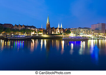 Cityscape of night Bremen