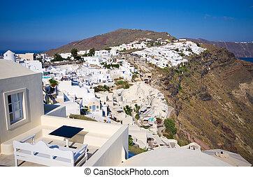 Cityscape of Oia on Santorini island, Greece