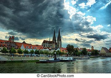 Cityscape of old Regensburg ,Bavaria, Germany, Unesco ...