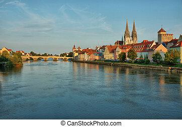 Cityscape of old Regensburg ,Bavaria,Germany,Unesco heritage,Hdr