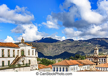 Cityscape of Ouro Preto city and hills