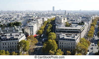 Cityscape of Paris with the Eiffel Tower and apartment ...