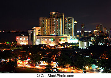 cityscape of penang - skyscraper and skyline building in...