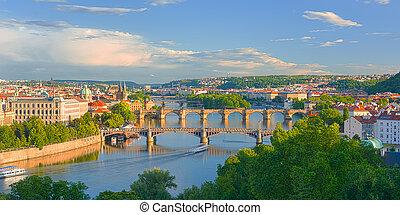 Prague at sunset time