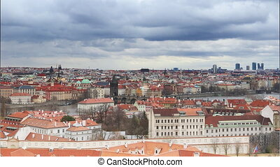 Cityscape of Prague with Charles bridge