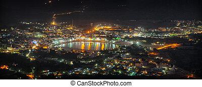 Cityscape of Pushkar, India at Night