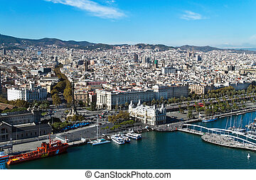 Cityscape of Rambla del Mar, Barcelona, Catalonia, Spain, Europe. Horizontally framed shot.