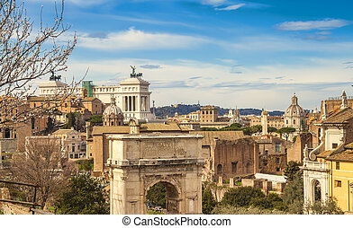 cityscape of Rome city in Italy